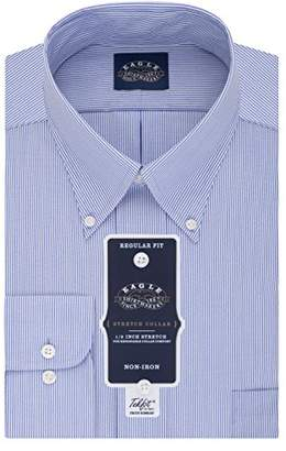 Eagle Mens Dress Shirts Non Iron Regular Fit Stretch Stripe Button Down Collar