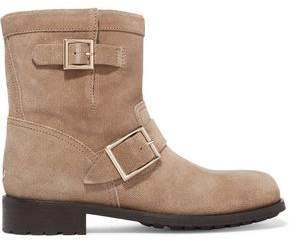 Jimmy Choo Buckled Textured-Nubuck Boots