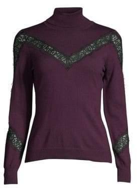 Milly Wool Lace Insert Turtleneck Sweater