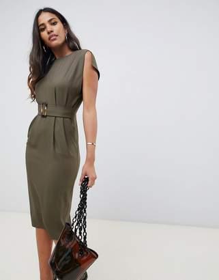 Asos DESIGN split cap sleeve midi pencil dress with buckle