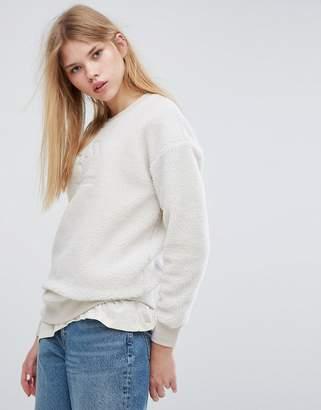 Converse Cons Sherpa Sweatshirt In Cream
