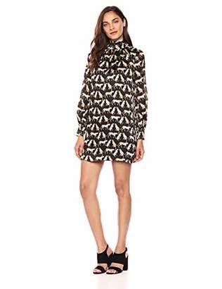 Milly Women's Cheetah Print on Silk Long Sleeve Sherie Mini Dress