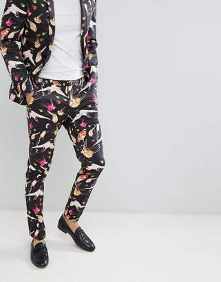 Asos DESIGN Super Skinny Suit Pants In Cotton Bird Print