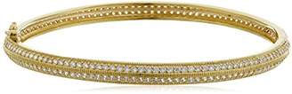 18k Gold Plated Sterling Silver Cubic Zirconia Bangle Bracelet