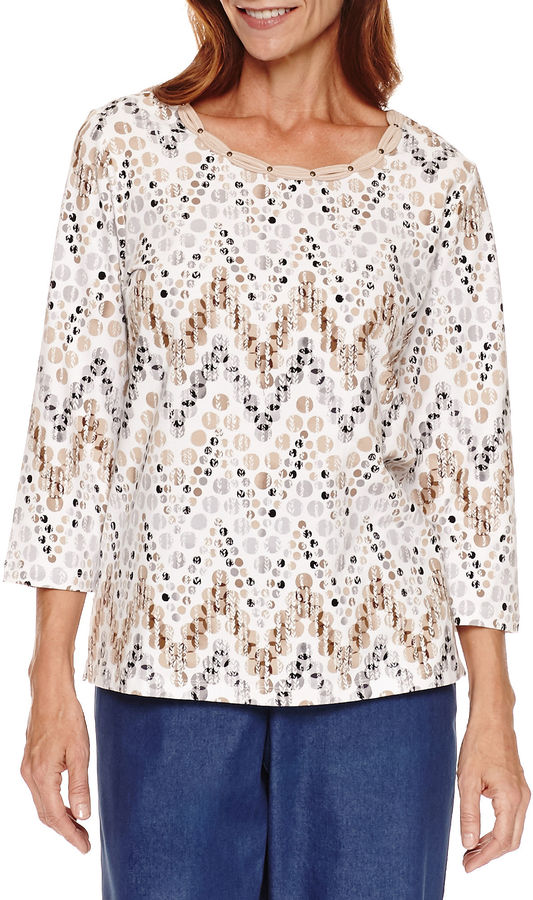 Alfred Dunner 3/4 Sleeve Zig Zag Print Top