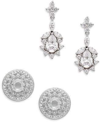 Adriana Orsini Women's White Stone Stud & Drop Earring Gift Box Set/Silvertone