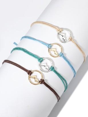 Shein Mountain Detail Circle Bracelet Set 4pcs