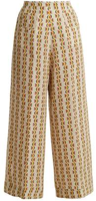 Etro Wide Leg Crescent Print Silk Trousers - Womens - Yellow Print