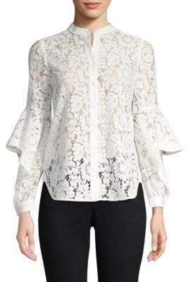 BCBGMAXAZRIA Ruffle-Sleeve Lace Top