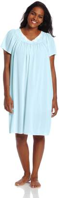 Miss Elaine Women's Plus-Size Tricot Short Flutter Sleeve Nightgown
