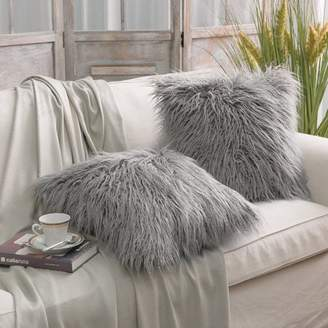 "Set of 2 Throw pillow Covers Faux Fur Phantoscope Decorative New Luxury Series Merino Style Gray Color Faux Fur Throw Pillow Case Cushion Cover 18"" x 18""(Pillow Covers Only)"