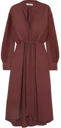 Vince Silk-paneled Gathered Crepe De Chine Dress - Burgundy