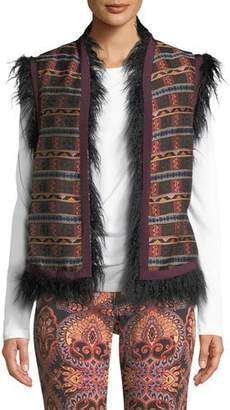 Etro Embroidered Faux-Fur Vest