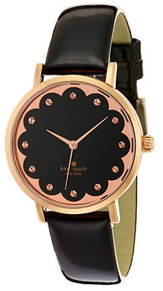 Kate Spade Kate Spade New York Novelty Metro Rose Goldtone Stainless Steel & Leather Strap Scallop Watch
