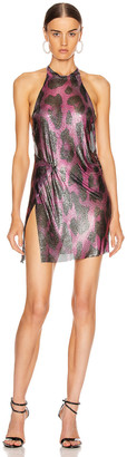 Fannie Schiavoni for FWRD Alicia Halter Mini Dress in Pink Leopard | FWRD