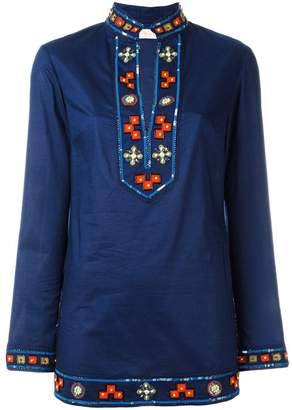 Tory Burch embroidered open neck top