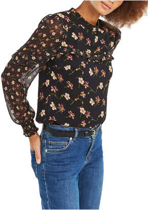 Oasis Freida Floral Patched L/S Chiffon Top
