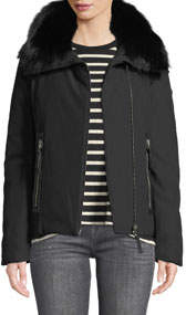Down A-Line Parka Short Jacket with Fox Fur Trim