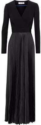Diane von Furstenberg Crepe-Paneled Pleated Satin Wrap Gown