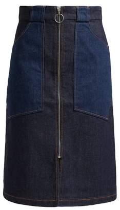 A.P.C. Joe High Rise Denim Midi Skirt - Womens - Indigo