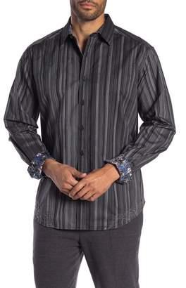 Robert Graham Lopez Striped Print Classic Fit Sport Shirt