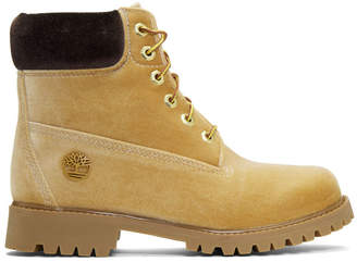 Off-White Off White Tan Timberland Edition Velvet Boots