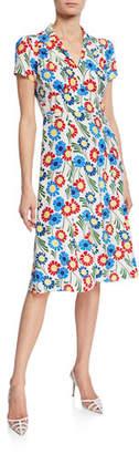 Morgan HVN 40s Sunflower Print Silk Dress
