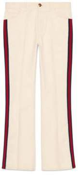 Gucci Denim flare pant with Web