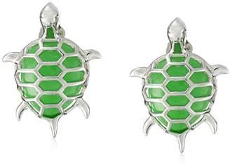 Rhodium-Plated Sterling Silver Onyx | Jade Turtle Stud Earrings