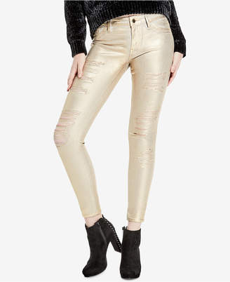 GUESS Metallic Ripped Skinny Jeans