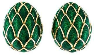 David Webb 18K Green Enamel Clip-On Earrings