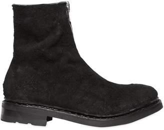 Suede Boots W/ Front Zip