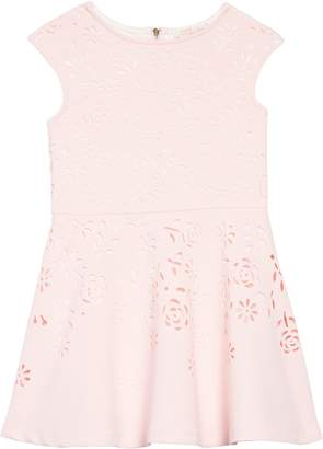 Truly Me Laser Cut Floral Fit & Flare Dress