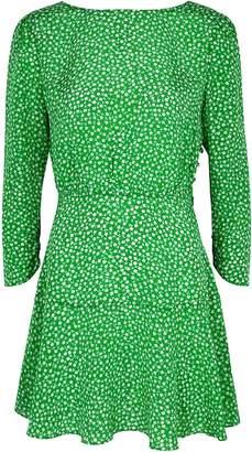 Rixo Kyla Green Floral-print Silk Mini Dress