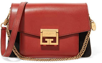 Givenchy Gv3 Small Leather And Suede Shoulder Bag - Red
