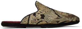 Dolce & Gabbana Black and Gold Embroidered Loafers