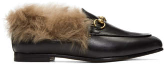 Gucci Black Jordaan Wool-Lined Slippers