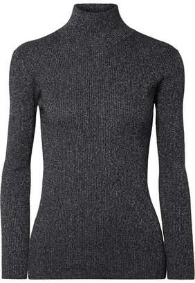 Prada Metallic Ribbed Wool-blend Turtleneck Sweater