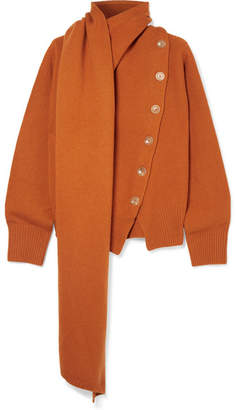 Joseph Draped Wool And Cashmere-blend Sweater - Orange