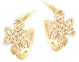 Freida Rothman Crystal and Sterling Silver Knot Hoop Earrings