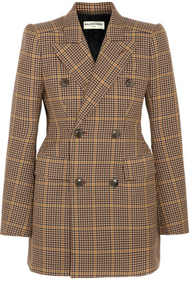Balenciaga - Hourglass Double-breasted Checked Wool Blazer - Brown $2,185 thestylecure.com
