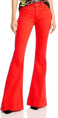 Alice + Olivia Beautiful Bell Bottom Jeans in Cherry