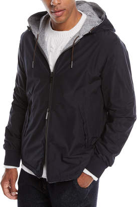 Ermenegildo Zegna Men's Hooded Reversible Zip-Front Jacket
