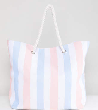 Navy & Blush Stripe Beach Bag - Pink stripe South Beach eysuoGiqXn