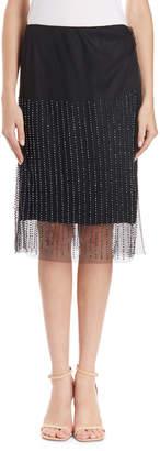 Dries Van Noten Mesh Overlay Skirt w/ Jet Beads