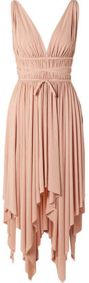 Norma Kamali Goddess Ruched Stretch-jersey Midi Dress - Antique rose