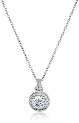 Swarovski Platinum Plated Sterling Silver Antique Pendant Necklace set with Round Cut Zirconia (2.8 cttw)