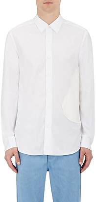 Loewe Men's Faux-Leather-Patch Shirt