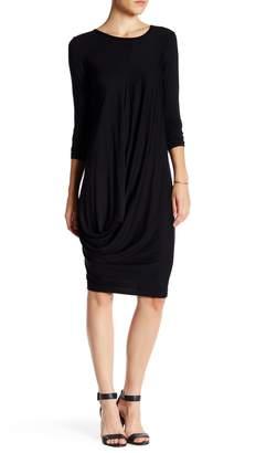 Couture Go Long Sleeve Draped Bubble Hem Dress