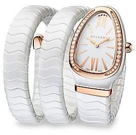 Bvlgari Women's Serpenti White Ceramic & 18K Rose Gold Double Twist Bracelet Watch